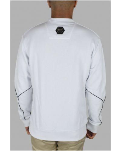 Biała bluza z długimi rękawami skórzana Philipp Plein