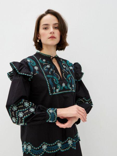 Блузка с длинным рукавом черная весенний Twinset Milano