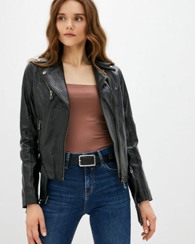 Черная турецкая кожаная куртка Basics & More