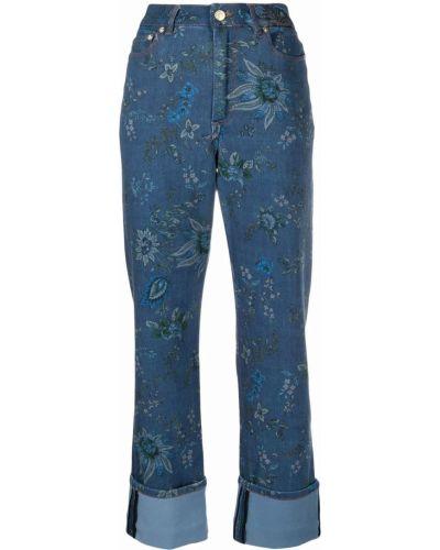 Niebieskie spodnie w kwiaty Erdem
