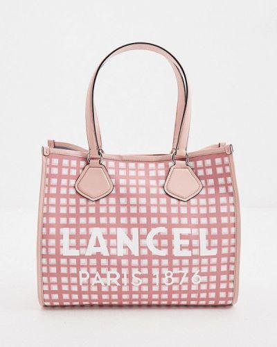 Текстильная розовая сумка шоппер Lancel