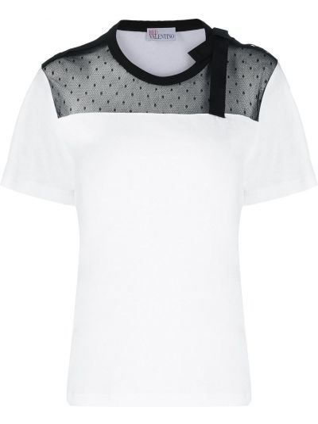 Трикотажная белая футболка с короткими рукавами Red Valentino