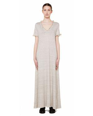 Платье шелковое бежевое 120% Lino