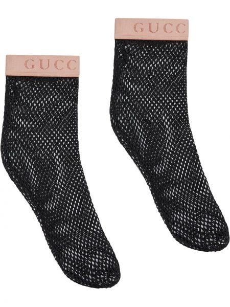 Ażurowe czarne skarpety Gucci