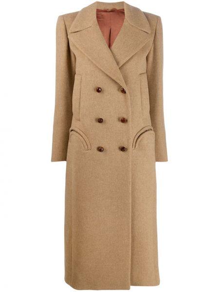 Шерстяное длинное пальто с капюшоном двубортное Blazé Milano