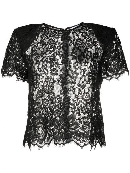 Черная кружевная блузка с короткими рукавами Self-portrait