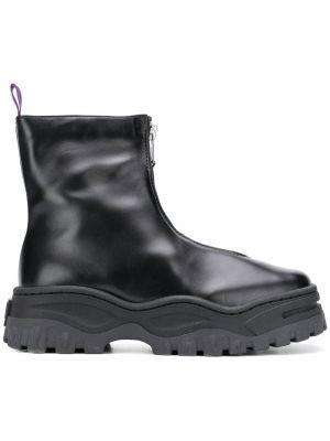 Czarny buty skórzane z prawdziwej skóry okrągły okrągły nos Eytys