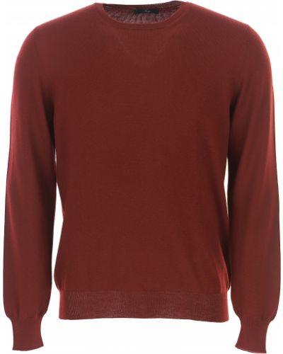 Czerwony sweter wełniany z długimi rękawami Fay