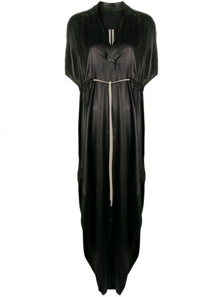 Bawełna czarny sukienka mini z dekoltem w szpic krótkie rękawy Rick Owens