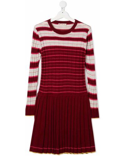 Красное акриловое платье с рукавами с вырезом круглое Marni Kids