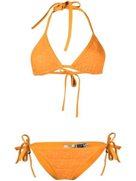 Оранжевые пляжные бикини с завязками Fendi