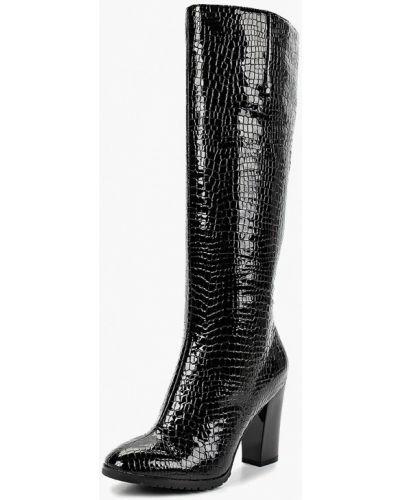 Кожаные сапоги осенние на каблуке Vitacci