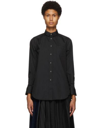 Хлопковая черная рубашка с длинными рукавами Sacai