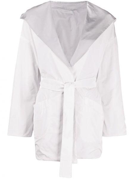 Открытая белая длинное пальто с поясом Herno