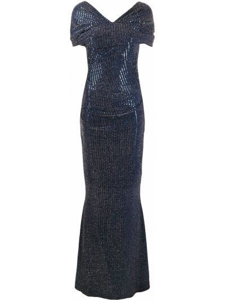 Нейлоновая приталенная синяя юбка мини с пайетками Talbot Runhof