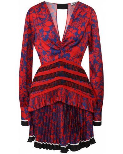 Платье мини с цветочным принтом с V-образным вырезом Self-portrait
