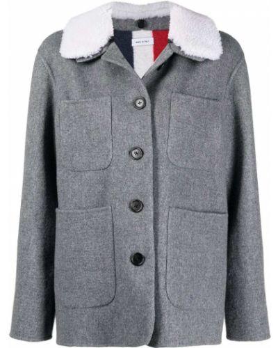 Серое пальто из овчины Thom Browne