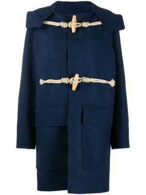 С рукавами синее шерстяное длинное пальто с карманами Sofie D'hoore