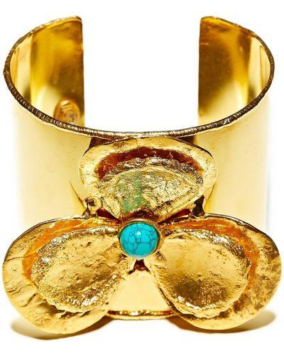 Широкий браслет золотой кафф Sylvia Toledano