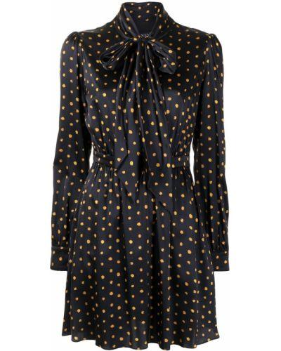 Złota czarna sukienka długa w grochy Haney