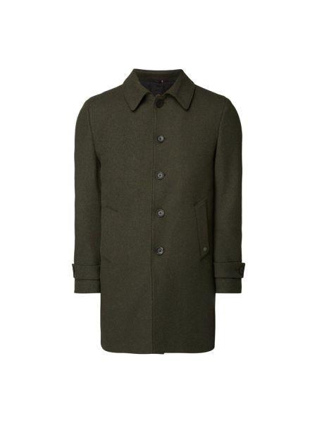 Zielony wełniany płaszcz z kołnierzem z kieszeniami Cg - Club Of Gents