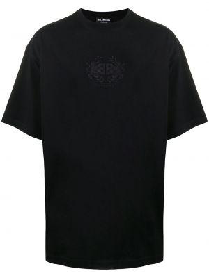 Прямая черная футболка с вырезом Balenciaga