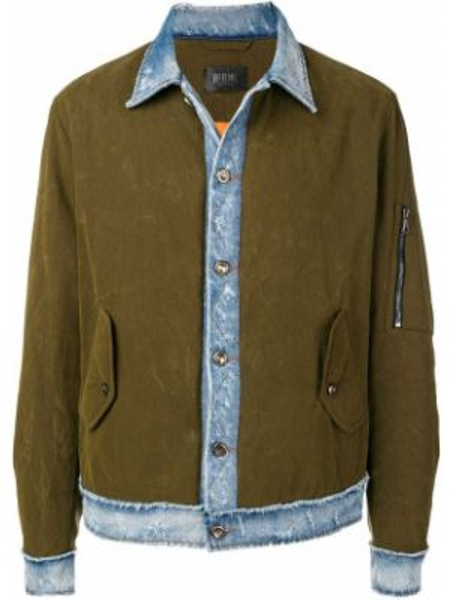 Джинсовая куртка милитари на пуговицах с манжетами прозрачная Overcome
