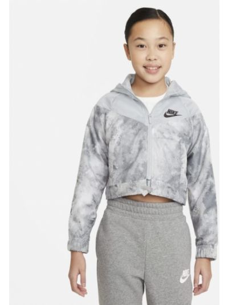 Szara ciepła krótka kurtka materiałowa Nike