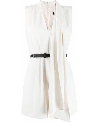 Asymetryczny biały pajacyk z dekoltem w szpic bez rękawów Allsaints