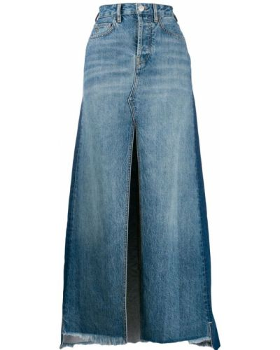 Джинсовая юбка с завышенной талией макси Marcelo Burlon. County Of Milan