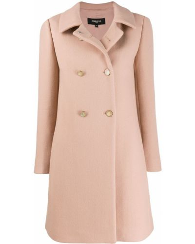 Розовое шерстяное длинное пальто с воротником Paule Ka