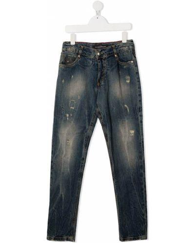Облегающие синие джинсы-скинни на пуговицах John Richmond Junior