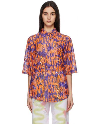 Фиолетовая рубашка с короткими рукавами с воротником Collina Strada