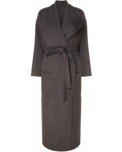 Кашемировое серое длинное пальто с запахом Izeta