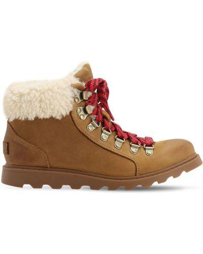 Сапоги на шнуровке замшевые Sorel
