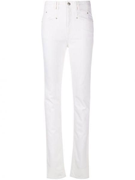 Bawełna z wysokim stanem jeansy na wysokości z kieszeniami z łatami Isabel Marant