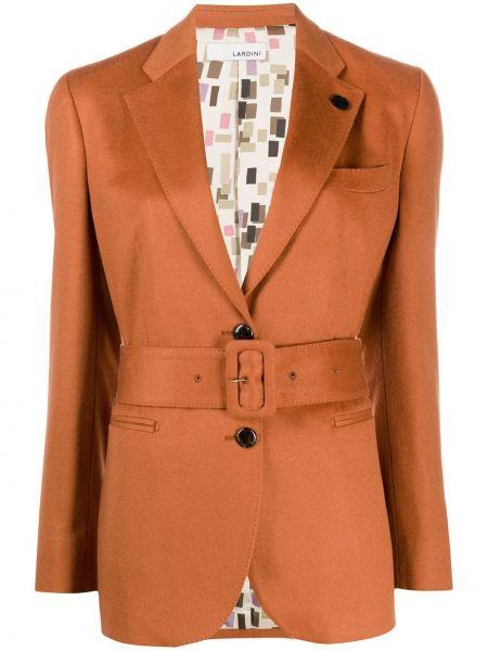 Кашемировый оранжевый удлиненный пиджак с карманами Lardini