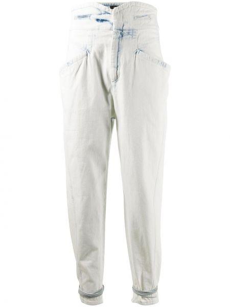 Bawełna niebieski z wysokim stanem jeansy na wysokości z kieszeniami Isabel Marant