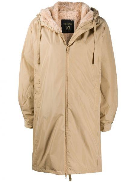 С рукавами классическое бежевое пальто с капюшоном с карманами Semicouture