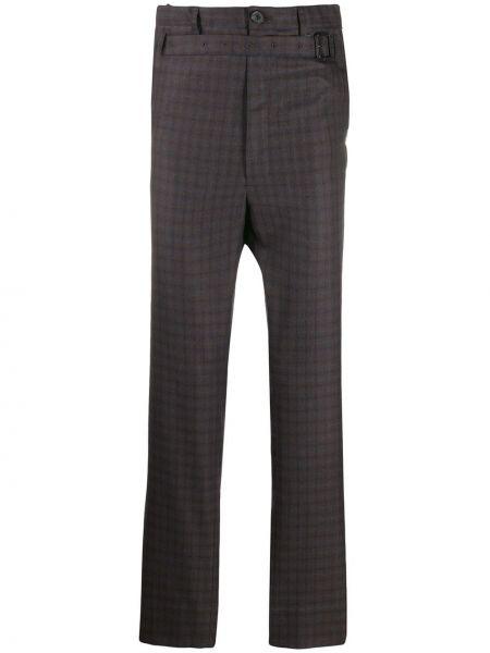 Коричневые прямые прямые брюки с поясом на пуговицах Maison Mihara Yasuhiro