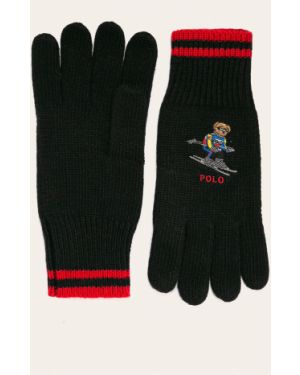 Czarne rękawiczki wełniane Polo Ralph Lauren