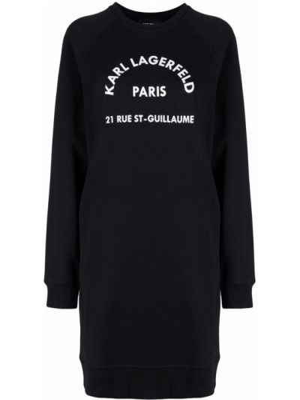 С рукавами черное платье миди с вырезом Karl Lagerfeld