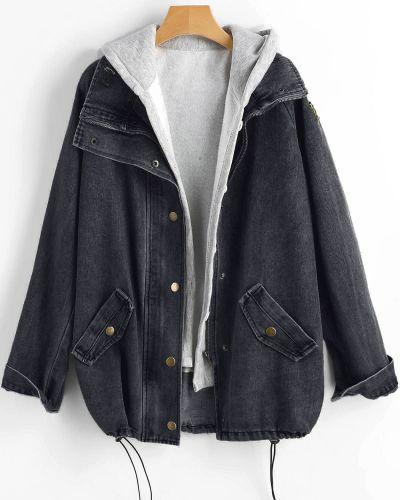 Куртка с капюшоном черная джинсовая Zaful
