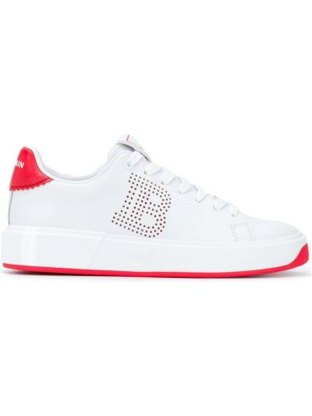 Белые кроссовки с нашивками на шнуровке с перфорацией Balmain