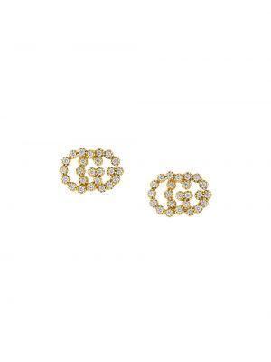 Żółte złote kolczyki sztyfty z diamentem Gucci