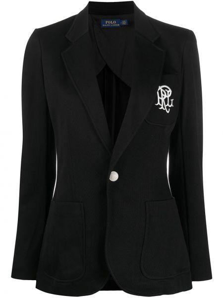 Однобортный черный удлиненный пиджак на пуговицах Polo Ralph Lauren