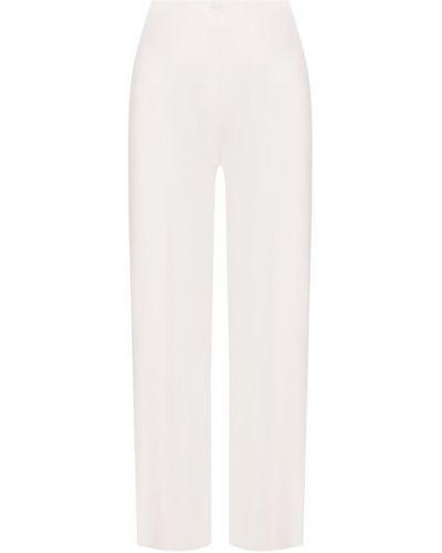 Белые шелковые со стрелками классические брюки Oscar De La Renta