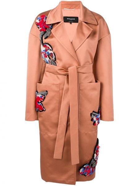 Открытое пальто с воротником с вышивкой из вискозы Rochas
