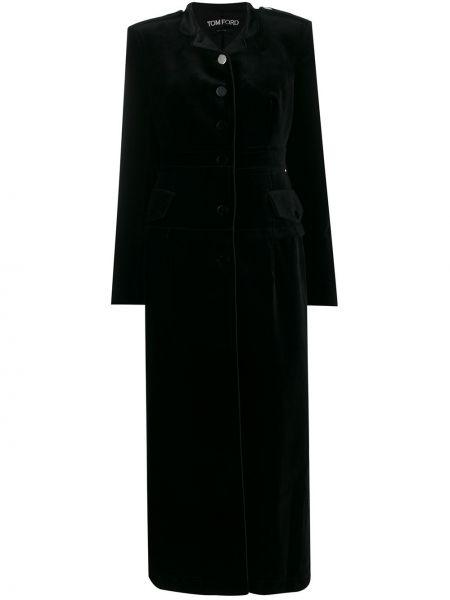 Черное пальто с воротником на пуговицах Tom Ford