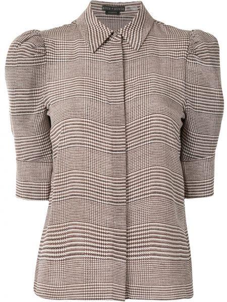 Шелковая коричневая рубашка с коротким рукавом с воротником с короткими рукавами Alice+olivia
